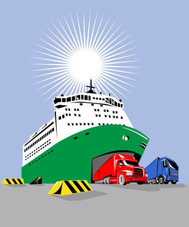 shipments: Roro ship with trucks