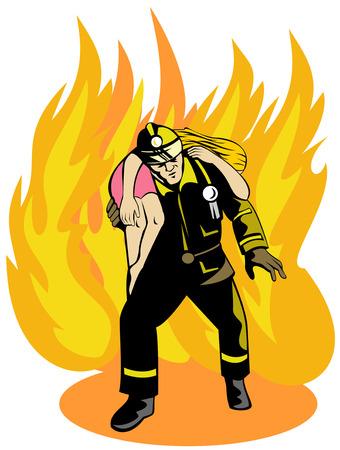 Fireman saving girl Illustration