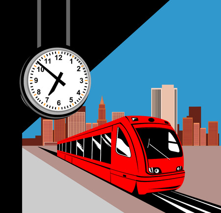 szynach: PociÄ…g w stacji z zegarem Ilustracja