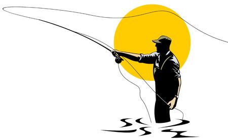 canna pesca: Pescatore a mosca  Vettoriali