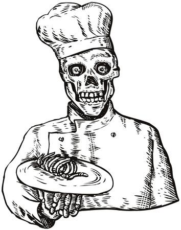 skeleton hand: Skull chef Illustration