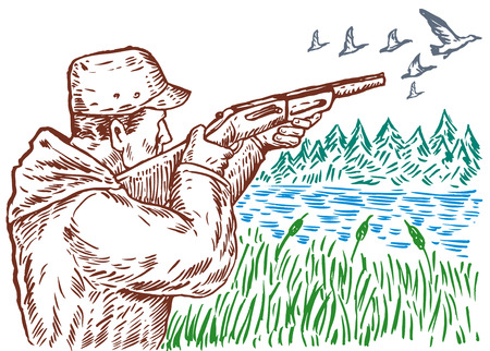 wildlife shooting: Hunter aiming at  duck Illustration