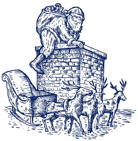 Santa climbing into chimney Vector
