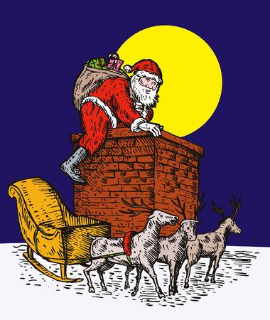 saint nicholas: Santa escalada en chimenea