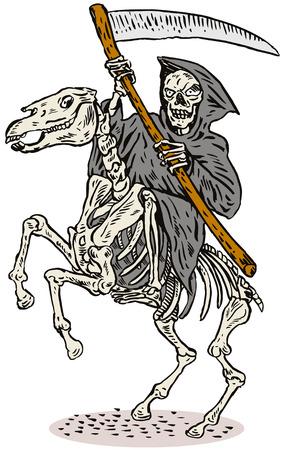 scythe: Grim reaper on horseback Illustration
