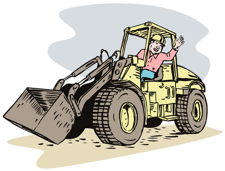 Construction worker and digger