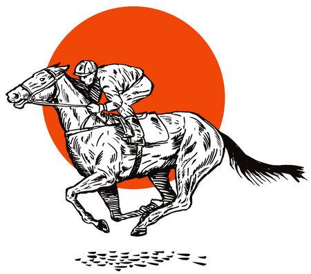 thoroughbred: Horse and jockey Illustration