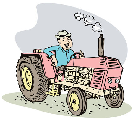 Farmer and his tractor Illustration