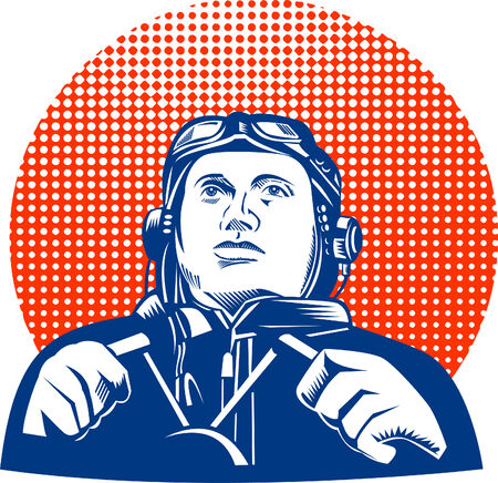 world war two: World War two pilot looking up Illustration