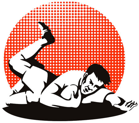 scoring: Rugby player scoring a try on turf Illustration