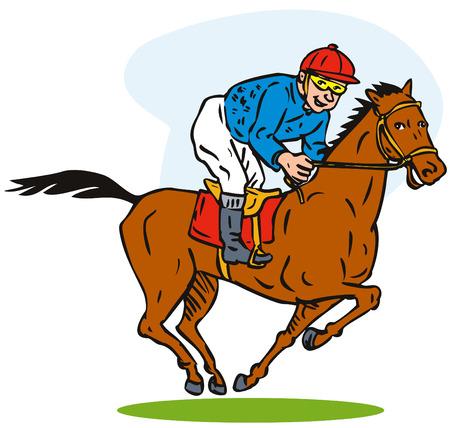 jockey: Carreras de caballos Vectores