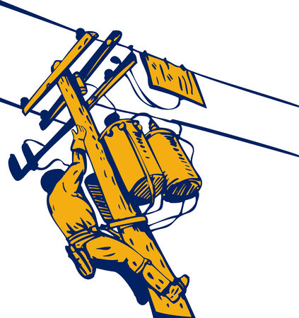 electricity post: Utility worker