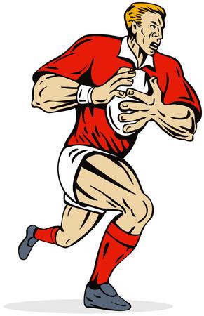 fullbody: Rugby jugador corriendo con el bal�n