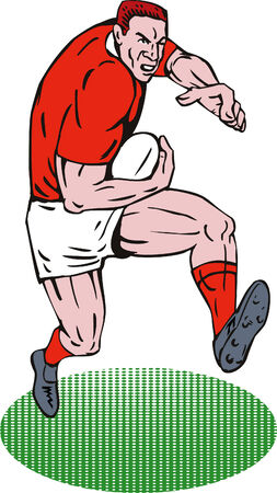 man full body: Rugby player running with the ball