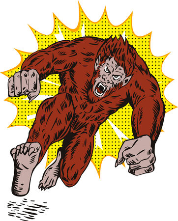 villain: Werewolf attacking Illustration