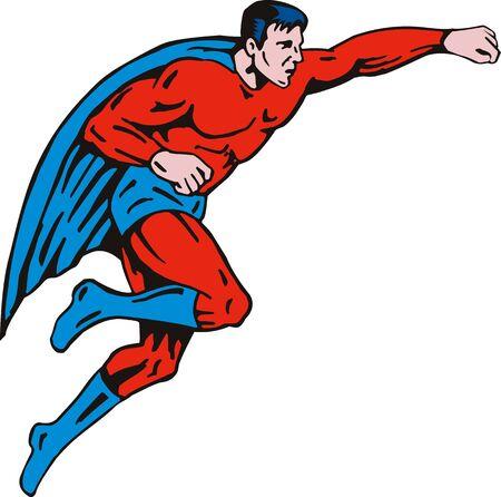 man full body: Superhero flying up