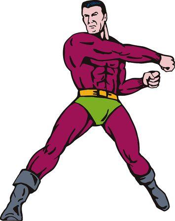 man full body: Superhero punching Stock Photo