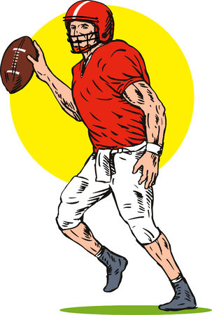 fullbody: Football player about to pass the ball