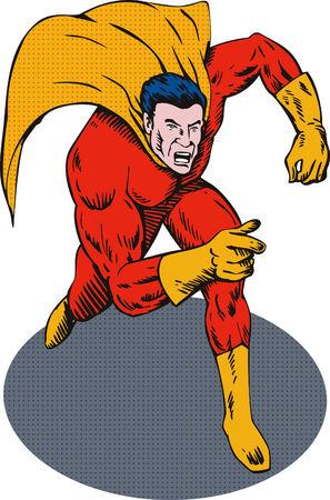 fullbody: Superh�roe corriendo hacia usted apunta