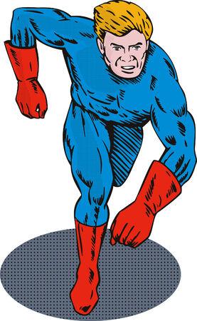 fullbody: Superh�roe corriendo hacia usted