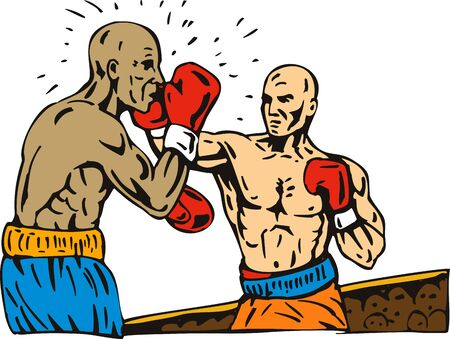 knockout: Boxer connecting a knockout punch