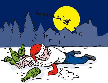 wasted: Man wearing Santa hat  totally wasted