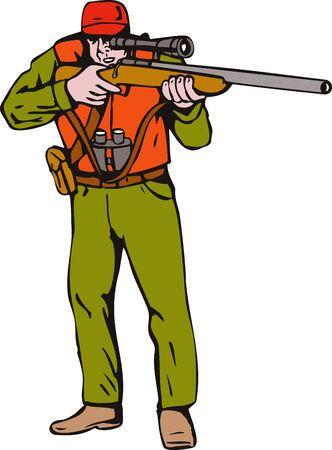 Hunter aiming rifle photo