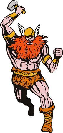 attacking: Viking attacking with hammer