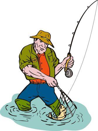 はえの漁師はマスをキャッチ