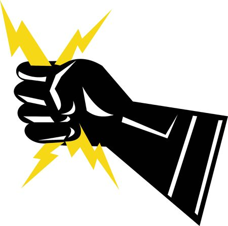 electric spark: Gloved hand holding sparks of electricity Stock Photo