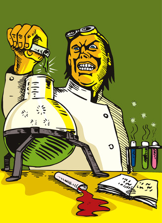 Mad Scientist pouring contents of test Vector