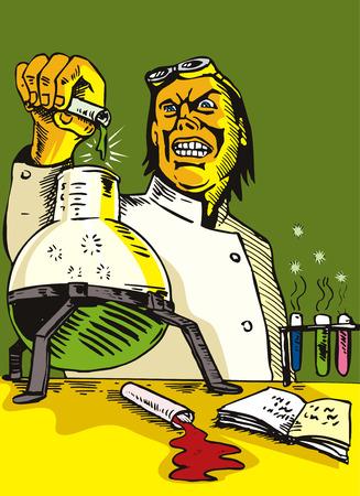 scienziati: Mad Scientist versare il contenuto del verbale di prova Vettoriali