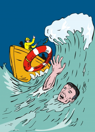Drowning man being thrown a lifeline Illustration