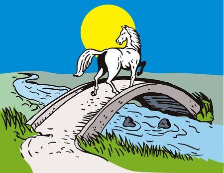 bridge over water: Horse crossing over bridge Stock Photo