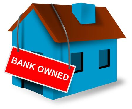 bank owned: House with bank owned sign Stock Photo