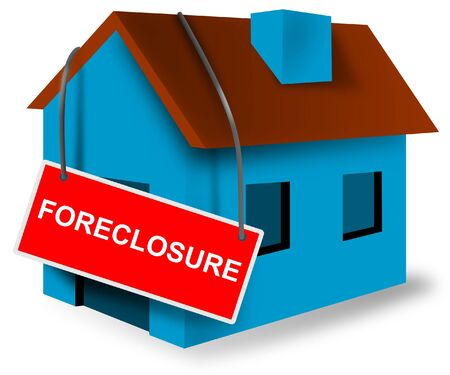 bank owned: House with foreclosure sign Stock Photo