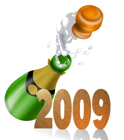 popping cork: Chapagne popping and new year 2009 Stock Photo