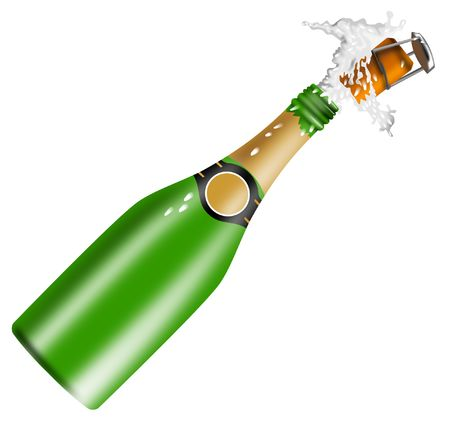 popping cork: Champagne bottle being opened Stock Photo
