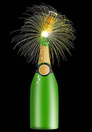 popping cork: Champagne bottle popping Stock Photo