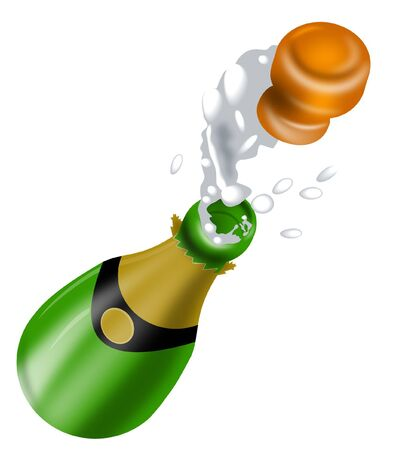 popping cork: Champagne bottle popping Stock Photo