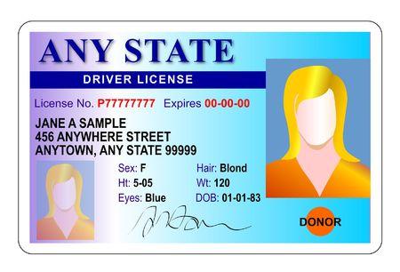 Driver license identification card Stock Photo