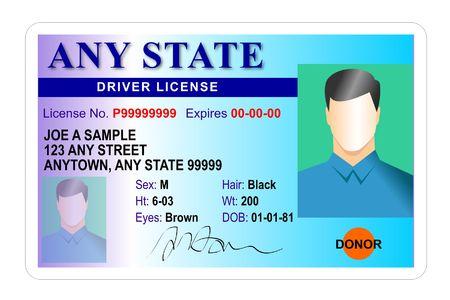 chofer: Licencia de conducir tarjeta de identificaci�n Foto de archivo