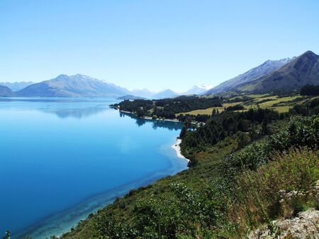 somewhere: Lake with mountains in the background somewhere in New Zealand Stock Photo