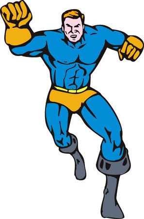 towards: Superhero running towards you