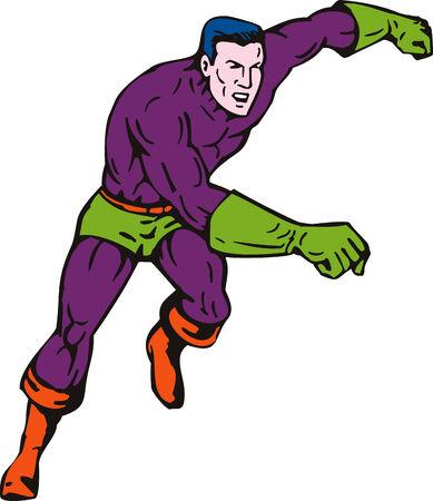 Superhero running towards you Vector
