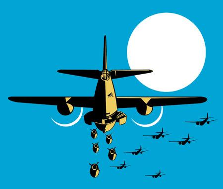 dropped: La Segunda Guerra Mundial bombardero lanzando bombas Vectores