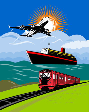 Airplane, ocean liner and train