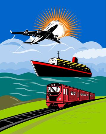 Oceaan stomer, vlieg tuig en trein