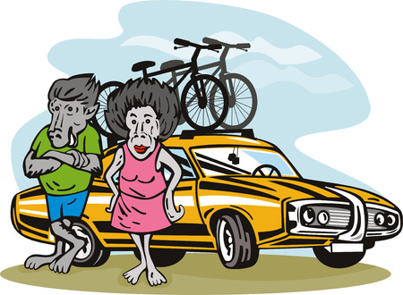 Mr and Mrs Baboon in front of car Vector