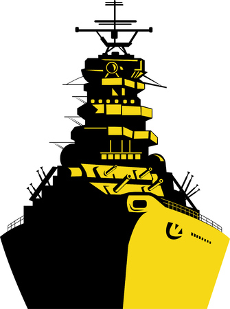 Warship with big guns Stock Vector - 4448414